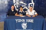 Anthony Mosqueda signs his letter of intent flanked by Steve Anderson and Curt Weber.
