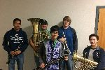 Five of the seven students who made honor band.