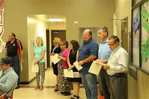 A group of YUHSD staff members recognized for their service