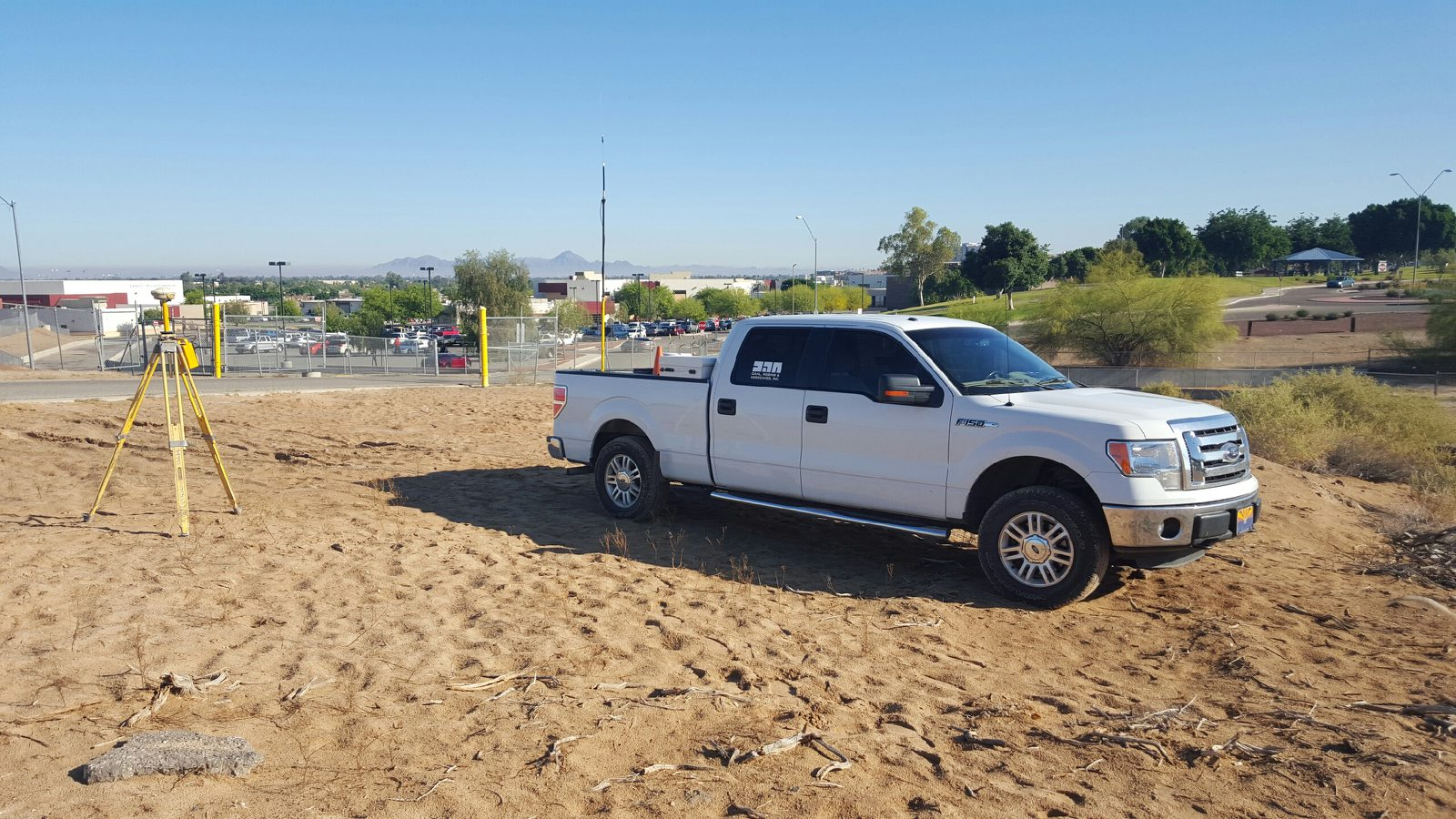 Surveyors begin site work at the location of the new Vista High School and District Office site