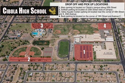 Cibola drop off and pick up map