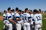 The Hawks huddle up before the start of Friday's game against Yuma High. Taylor DiCori (No. 13) was