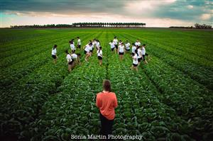 KHS dancers in lettuce field